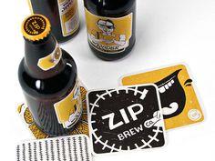 Zip Brew Co. Packaging #beer #bottle #packaging #coasters #label