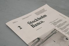 Stockholm Banco #publication #typography