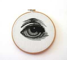 Human Eye Stitched Illustrated Hand Embroidered Wall by Samskiart #illustration #art #handmade #eye #embroidery #etsy