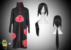 Shippuden Akatsuki Cloak Itachi Uchiha Cosplay Costume + Wig #costume #uchiha #itachi #cosplay