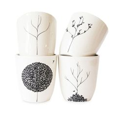 The Four Seasons 4 Piece Cup Set - Bailey Doesn't Bark on Joss & Main #ceramics #cups #trees #seasons