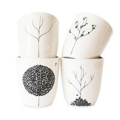 The Four Seasons 4 Piece Cup Set - Bailey Doesn't Bark on Joss & Main #ceramics #cups #trees #seasons