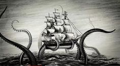Kraken Rum Illustrated Animations... on the Behance Network #motion #illustration #ship #sea #monster #graphics #rum #kraken