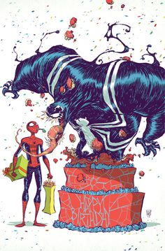 Spider Man and Venom birthday by skottieyoung on deviantART