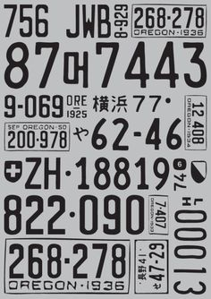 licence plates typography