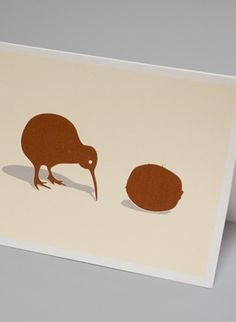 Made By Morris #printed #silkscreen #couple #a #of #kiwis #brown #hand