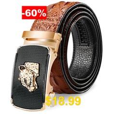 Men's #Leopard #Head #Design #Leather #Belt #Crocodile #Pattern #Automatic #Buckle #Waistband #- #BROWN
