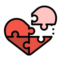 See more icon inspiration related to heart, Jigsaw, love and romance, puzzle pieces, heart shaped, creativity, gaming, puzzle and love on Flaticon.