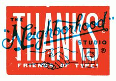 Neighborhood Thanks #lettering #red #neighborhood #print #design #type #overlay #blue #typography