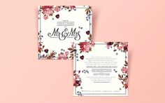 Wedding, floral, invite, typography
