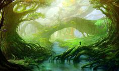 Fantasy Forest Lake Hd Free Backgrounds – WallpapersBae
