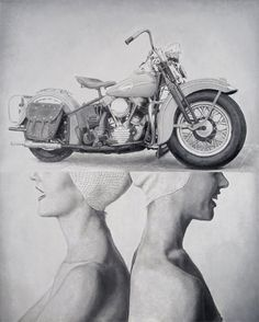 Dan Bina, America the Beautiful: V-Twins #found #bina #dan #women #painting #art #twins #canvas #motorcycle #oil
