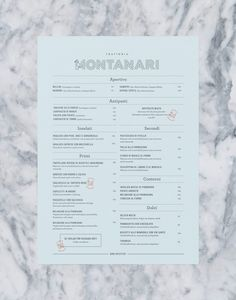 Trattoria Montanari by Twenty-Five Art House #menu #print #list