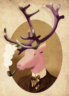 kaart_dandyraffe.jpg (463×650) #reindeer #card #christmas #illustration #pipe