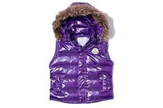Moncler Women Down Vest Collar Fur Purple #fashion