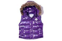 Moncler Women Down Vest Collar Fur Purple
