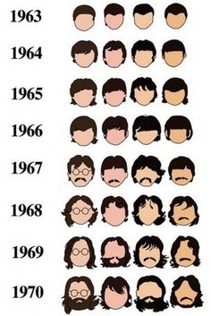Happy Inducing / a visual record of the beatles' hair #history #beatles #rock #hair #time #moustache