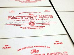 Stamp of authenticity for back of screenprinted posters. Signed by artist and screen printer.