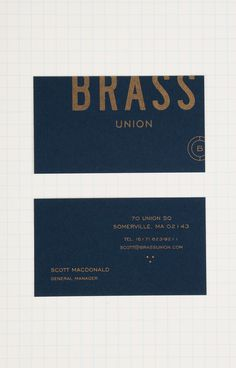 Brass Union Business Card #stationery