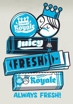 Jimmy Royale Bubble Gum #bubble #gum #retro #illustration #vintage #character