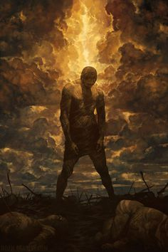 Noah Bradley #clouds #stand #illustration #concept #atmosphere #silhouette #painting #art #warrior #battlefield #light