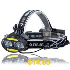UltraFire #UF-2504A #T6+COB+LED #8 #Light #3000LM #7 #Speed #Strong #Head #Light #- #BLACK