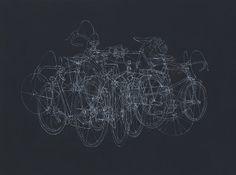 White ink line drawing on wood panel. #illustration #evan #hecox