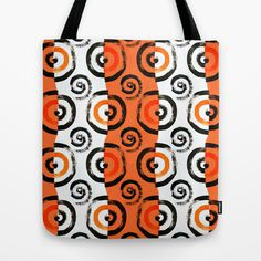 spiral, pattern, art deco, orange, black