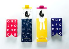PACKAGING | ONESPOON on Behance #packaging #culinary #bold #colourful #box #printed #drawing #fun #happy