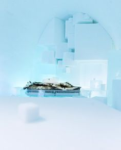 Ice bed in hotel bedroom #hotel #ice #art