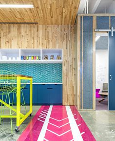 Vivid Office Space by Studio O+A  pink kitchen flooring