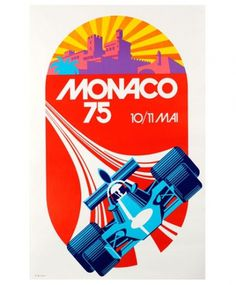 grain edit · Monaco 1975 Grand Prix Automobile Race Poster #red #monaco #vintage #1970s #poster #racing #race