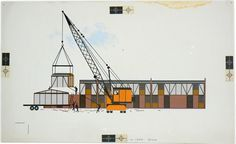 Charley Harper / Crane and housing development / 1970