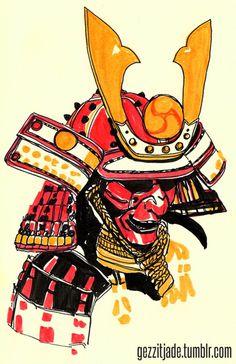 http://gezzitjade.tumblr.com/ #red #yellow #japanese #illustration #samurai #drawing #japan