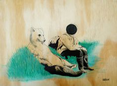 Bear and humanoid #circle #human #wood #ilustration #art #bear