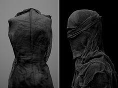 Nicolas Alan Cope, Dustin Edward Arnold, Veda #white #sculpture #portrait #black #fabric #garment #veil #shroud