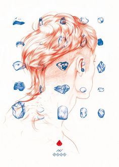 renard #neumann #red #hair #ini #illustration #poster #fashion #blue #drawing