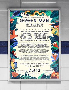 Green Man Festival poster #illustration #festival #poster #typography