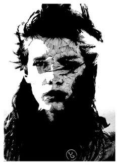 line::portrait on the Behance Network #white #level #next #black #illustration #and