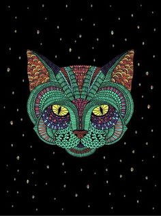 Intergalactic Animals on the Behance Network #illustration #face #cat #poster