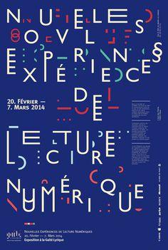 Nouvelle Expérience de Lecture Numérique on Behance #blue #poster #typography