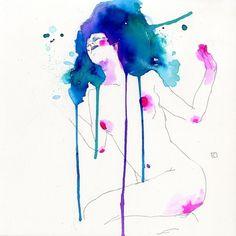 The Art of Conrad Roset #women #nude #watercolor #drip #splatter