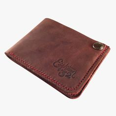 Dark Red Billfold — Eighteen32 #stitching #wallet #leather #snap #money #billfold