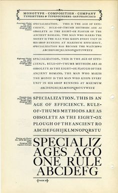 Monotype Original Old Caslon type specimen #type #specimen