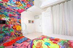 A French Hotel Room Half Covered in Graffiti #art #style #graffiti #space #white vs coloured
