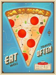 illustration, pizza, map