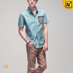 Mens Short Sleeve Button Down Shirt CW100328 #sleeve #short #shirt