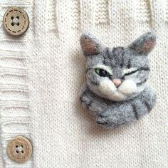 Winking cat needle felt brooch by CatsX on Etsy
