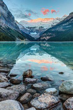 Dawn at Lake Louise in Banff, National Park, Alberta, Canada  #travel #photography