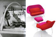 Eero Saarinen con la maqueta del Arco Gateway (San Luis, Missouri) y sillasÚtero, Modelo Nº 70. Diseñada en 1947